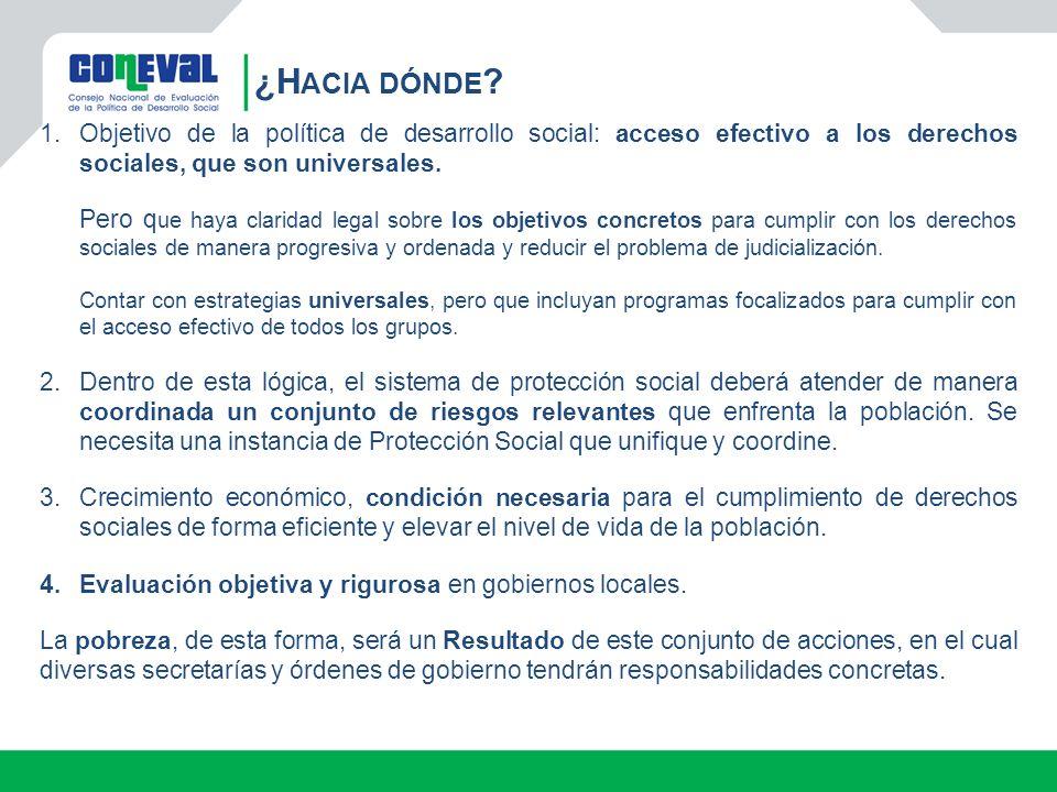 ¿Hacia dónde Objetivo de la política de desarrollo social: acceso efectivo a los derechos sociales, que son universales.