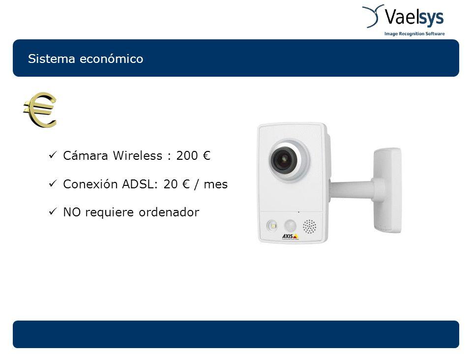 Sistema económico Cámara Wireless : 200 € Conexión ADSL: 20 € / mes NO requiere ordenador