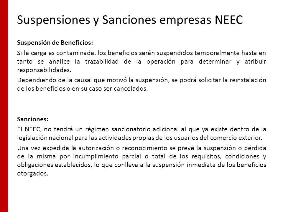 Suspensiones y Sanciones empresas NEEC
