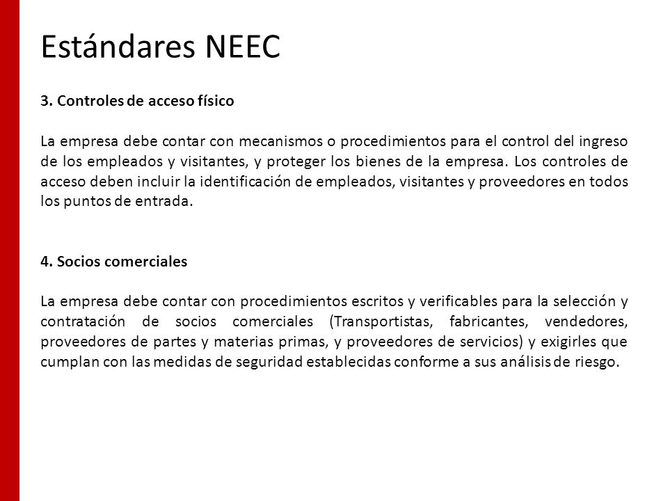 Estándares NEEC 3. Controles de acceso físico