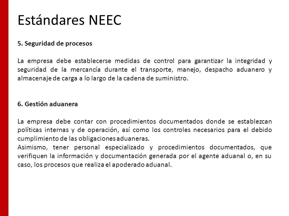 Estándares NEEC 5. Seguridad de procesos