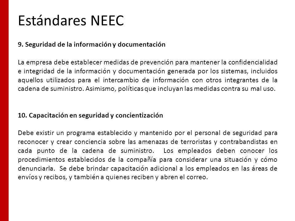 Estándares NEEC 9. Seguridad de la información y documentación