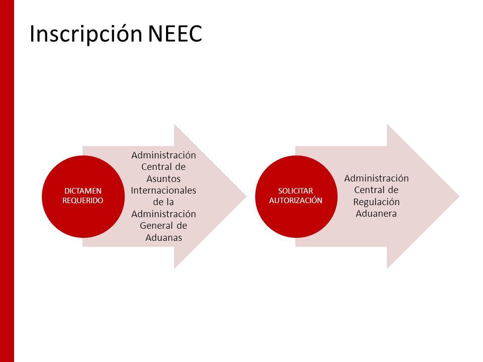 Inscripción NEEC Administración Central de Asuntos Internacionales de la Administración General de Aduanas.