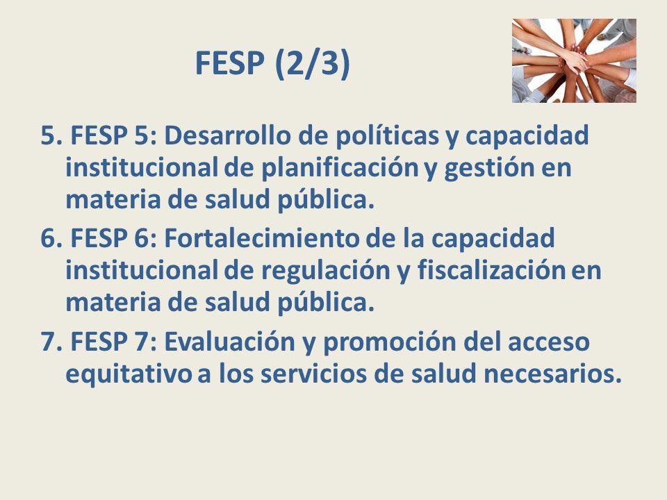 FESP (2/3) 5. FESP 5: Desarrollo de políticas y capacidad institucional de planificación y gestión en materia de salud pública.