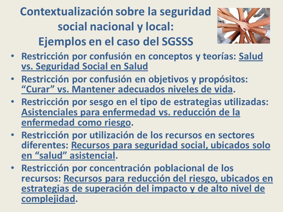Contextualización sobre la seguridad social nacional y local: Ejemplos en el caso del SGSSS