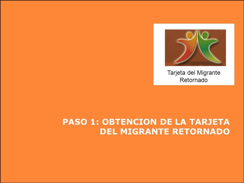Tarjeta del Migrante Retornado