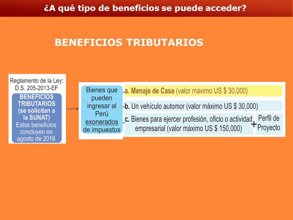 ¿A qué tipo de beneficios se puede acceder BENEFICIOS TRIBUTARIOS