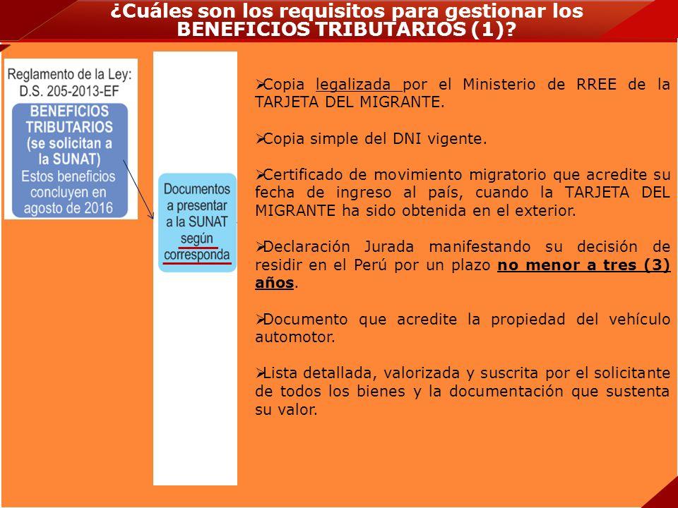 ¿Cuáles son los requisitos para gestionar los BENEFICIOS TRIBUTARIOS (1)