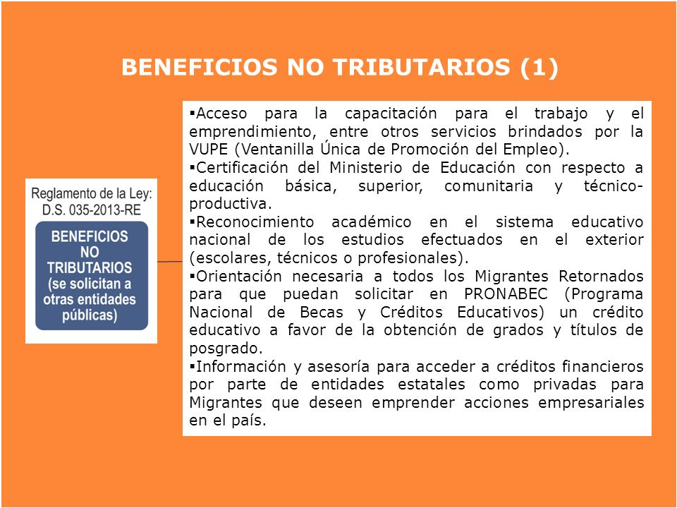 BENEFICIOS NO TRIBUTARIOS (1)