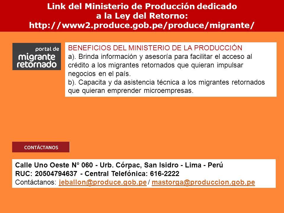 Link del Ministerio de Producción dedicado