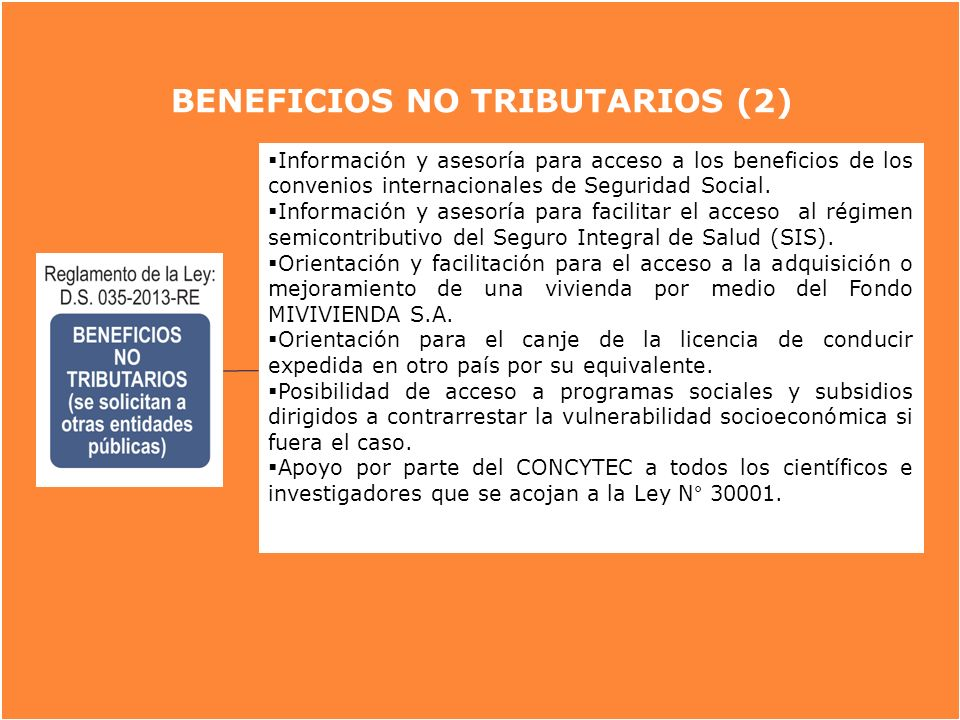 BENEFICIOS NO TRIBUTARIOS (2)