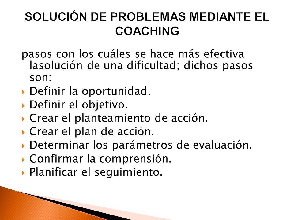SOLUCIÓN DE PROBLEMAS MEDIANTE EL COACHING