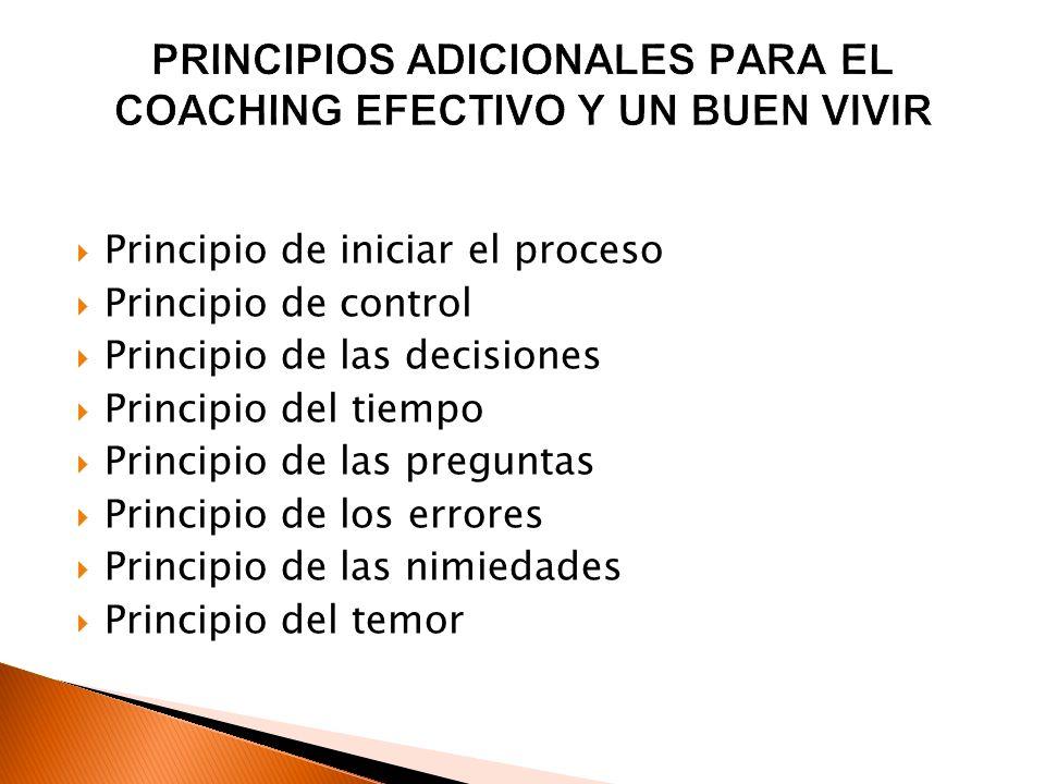 PRINCIPIOS ADICIONALES PARA EL COACHING EFECTIVO Y UN BUEN VIVIR