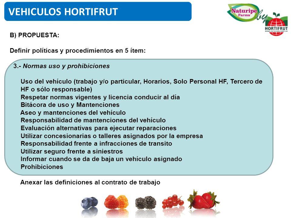 VEHICULOS HORTIFRUT B) PROPUESTA:
