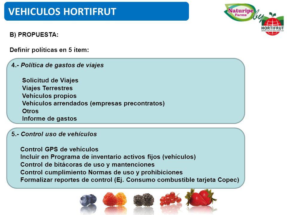 VEHICULOS HORTIFRUT B) PROPUESTA: Definir políticas en 5 ítem:
