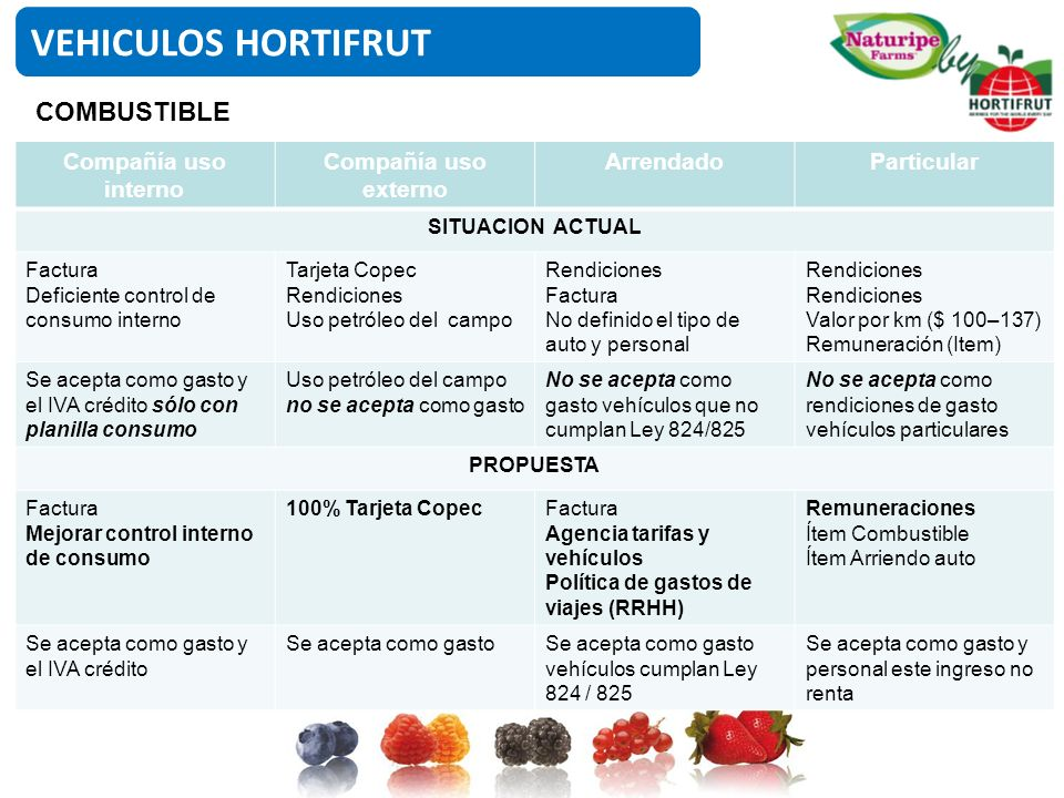 VEHICULOS HORTIFRUT COMBUSTIBLE Compañía uso interno