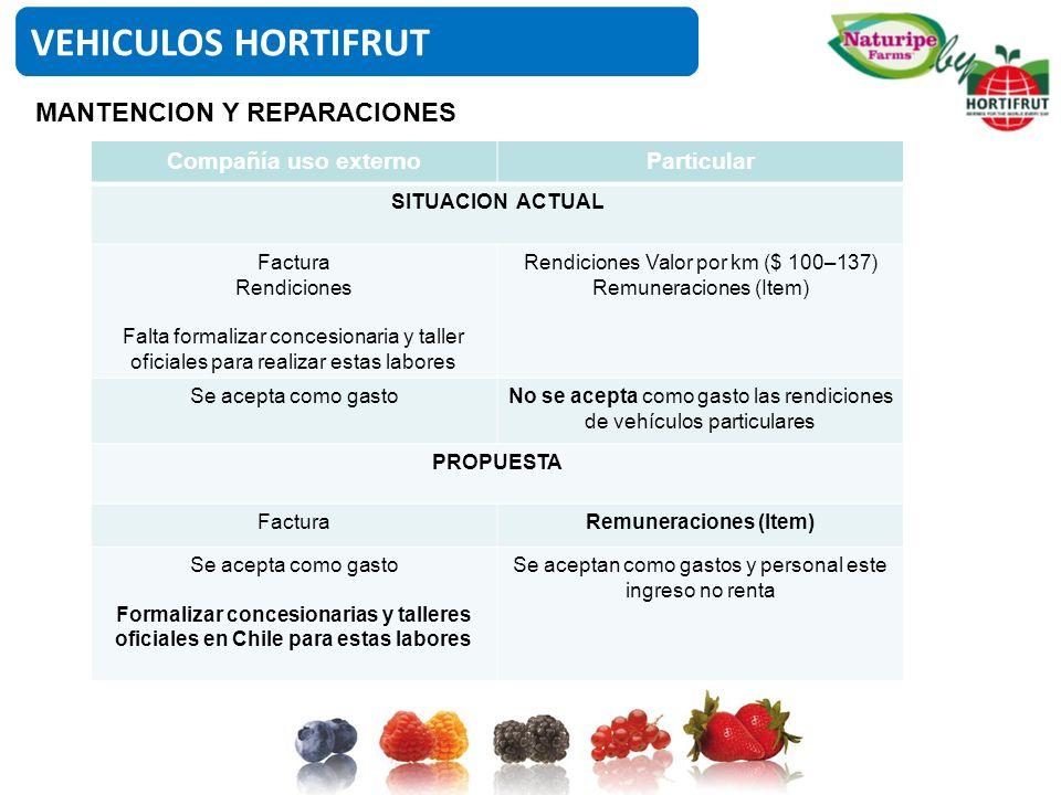 VEHICULOS HORTIFRUT MANTENCION Y REPARACIONES Compañía uso externo