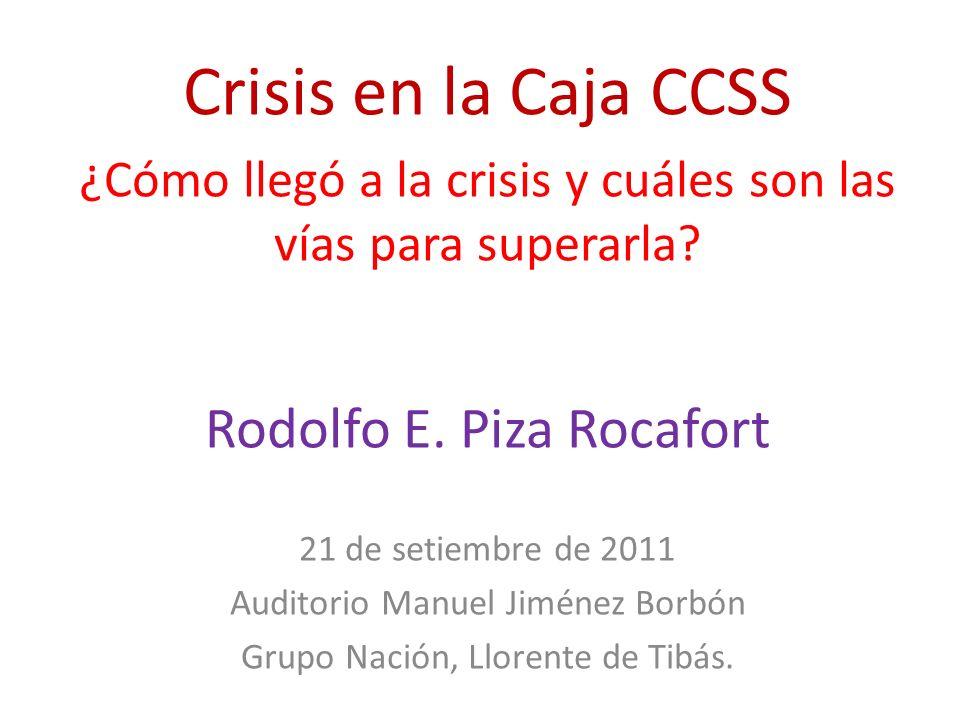 Crisis en la Caja CCSS Rodolfo E. Piza Rocafort