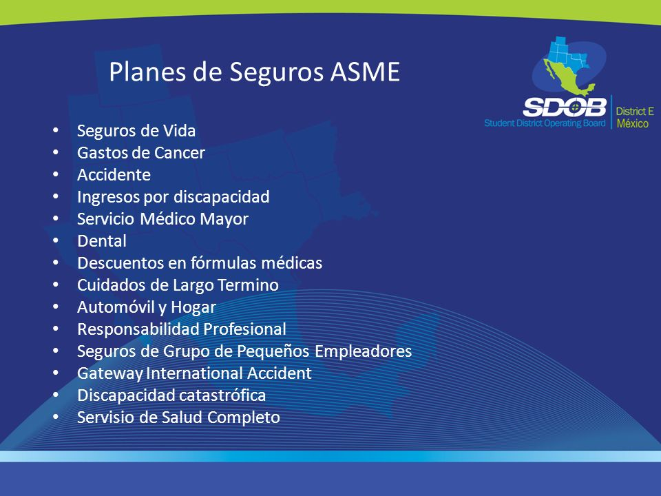 Planes de Seguros ASME Seguros de Vida Gastos de Cancer Accidente