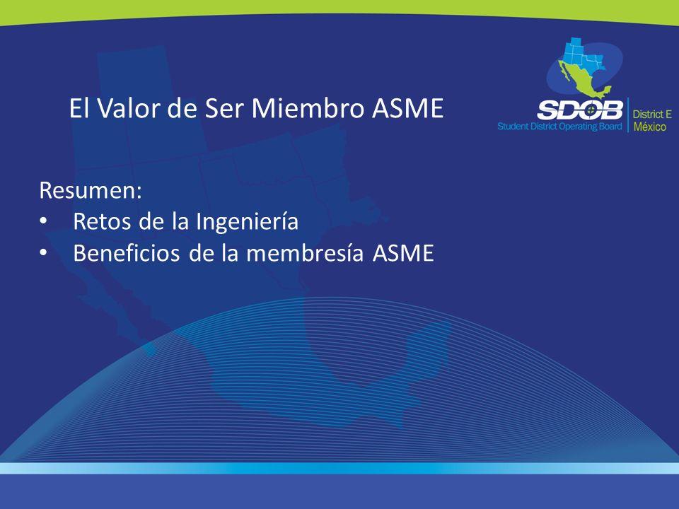 El Valor de Ser Miembro ASME