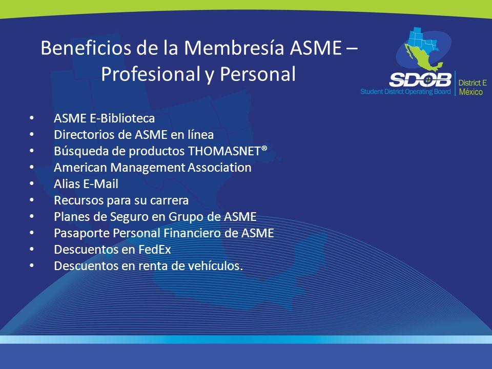 Beneficios de la Membresía ASME – Profesional y Personal