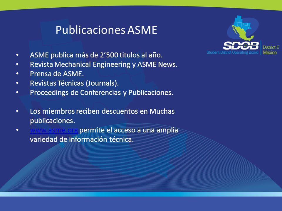 Publicaciones ASME ASME publica más de 2'500 titulos al año.