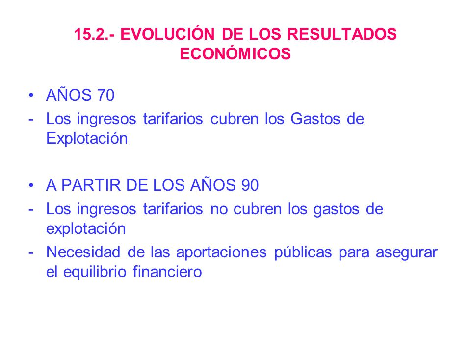 15.2.- EVOLUCIÓN DE LOS RESULTADOS ECONÓMICOS
