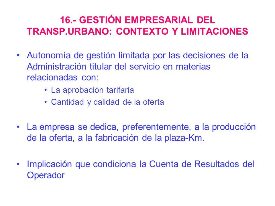 16.- GESTIÓN EMPRESARIAL DEL TRANSP.URBANO: CONTEXTO Y LIMITACIONES