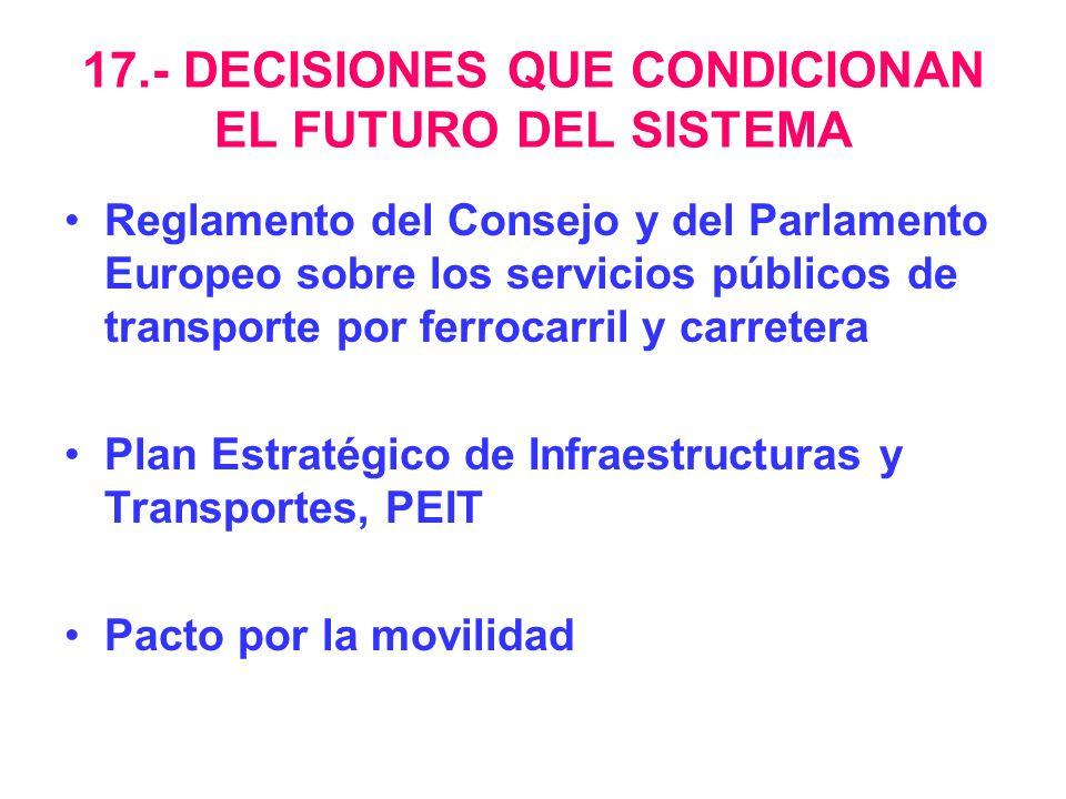 17.- DECISIONES QUE CONDICIONAN EL FUTURO DEL SISTEMA