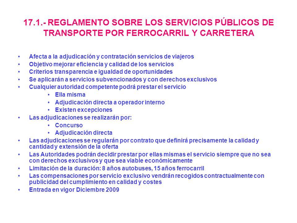 17.1.- REGLAMENTO SOBRE LOS SERVICIOS PÚBLICOS DE TRANSPORTE POR FERROCARRIL Y CARRETERA