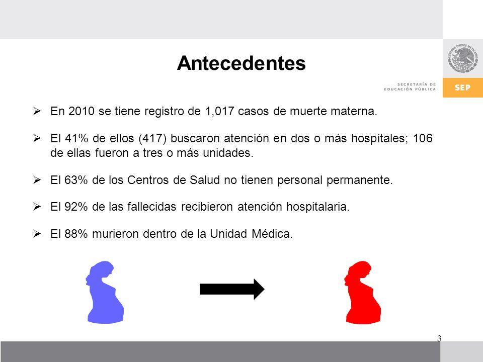 Antecedentes En 2010 se tiene registro de 1,017 casos de muerte materna.