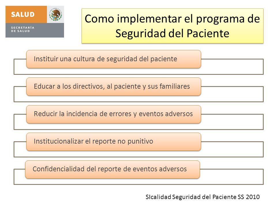 Como implementar el programa de Seguridad del Paciente