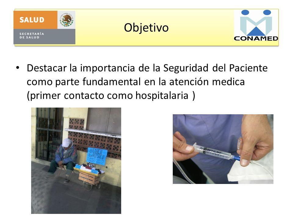 Objetivo Destacar la importancia de la Seguridad del Paciente como parte fundamental en la atención medica (primer contacto como hospitalaria )
