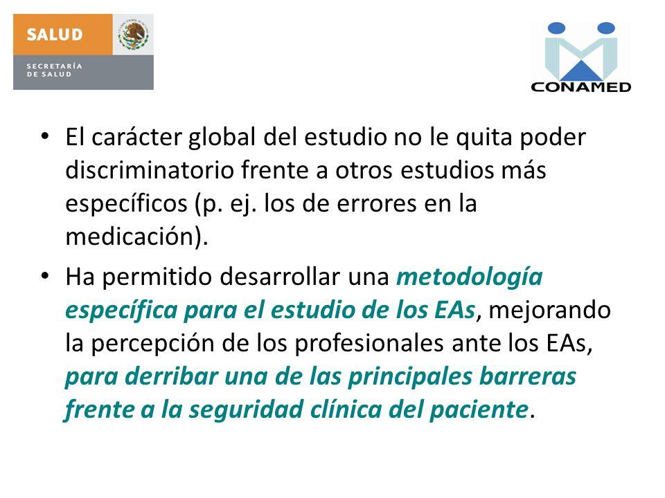 El carácter global del estudio no le quita poder discriminatorio frente a otros estudios más específicos (p. ej. los de errores en la medicación).