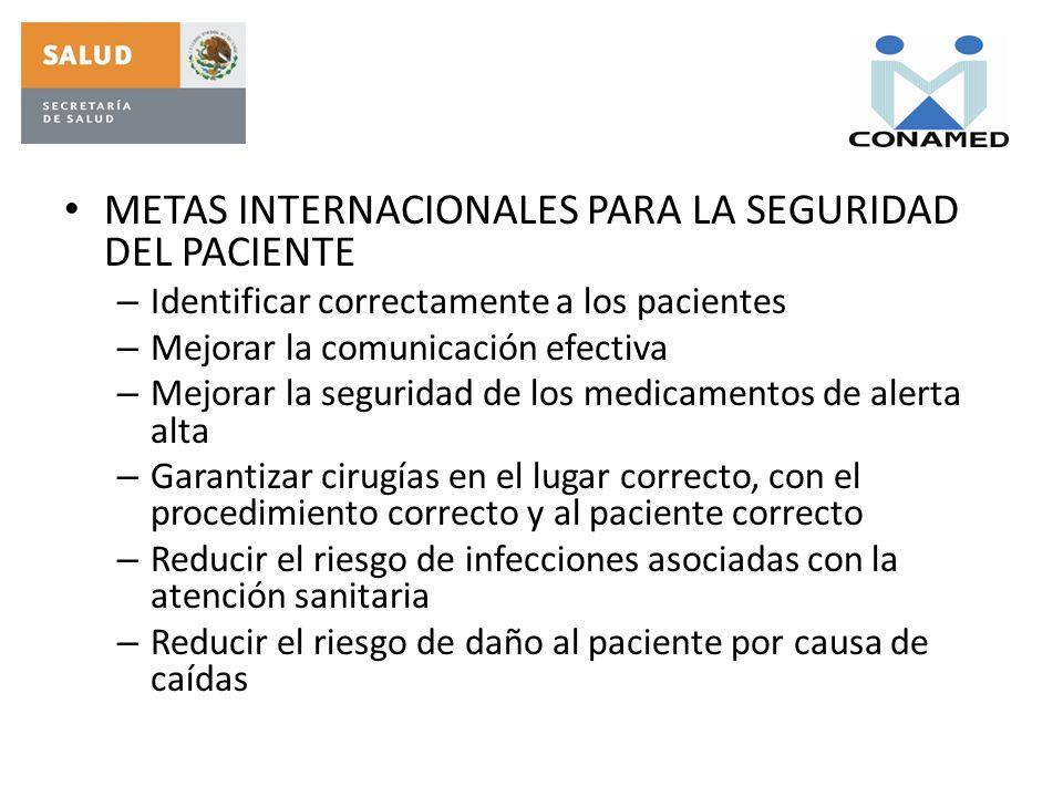 METAS INTERNACIONALES PARA LA SEGURIDAD DEL PACIENTE