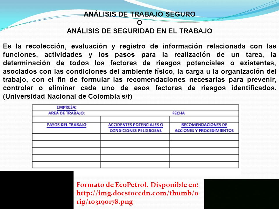ANÁLISIS DE TRABAJO SEGURO ANÁLISIS DE SEGURIDAD EN EL TRABAJO