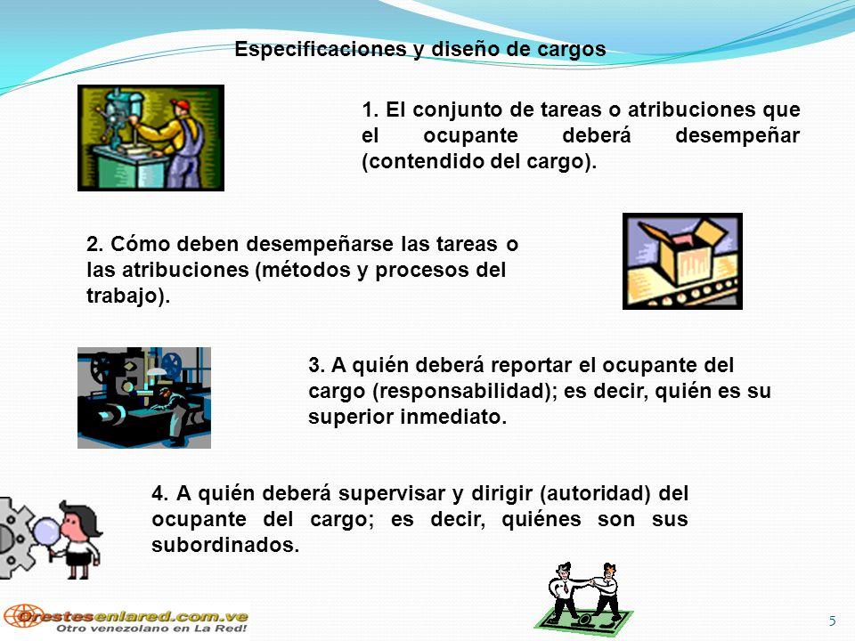 Especificaciones y diseño de cargos