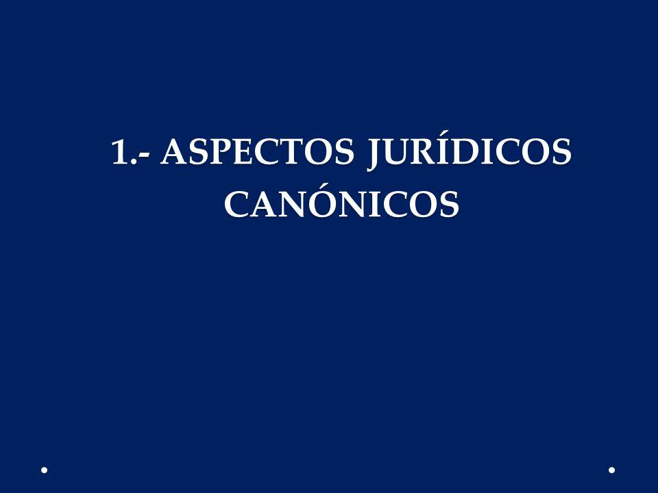 1.- ASPECTOS JURÍDICOS CANÓNICOS