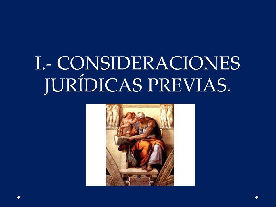 I.- CONSIDERACIONES JURÍDICAS PREVIAS.