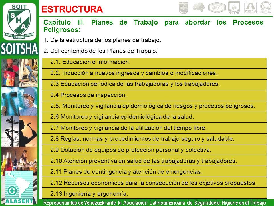 ESTRUCTURA Capítulo III. Planes de Trabajo para abordar los Procesos Peligrosos: 1. De la estructura de los planes de trabajo.
