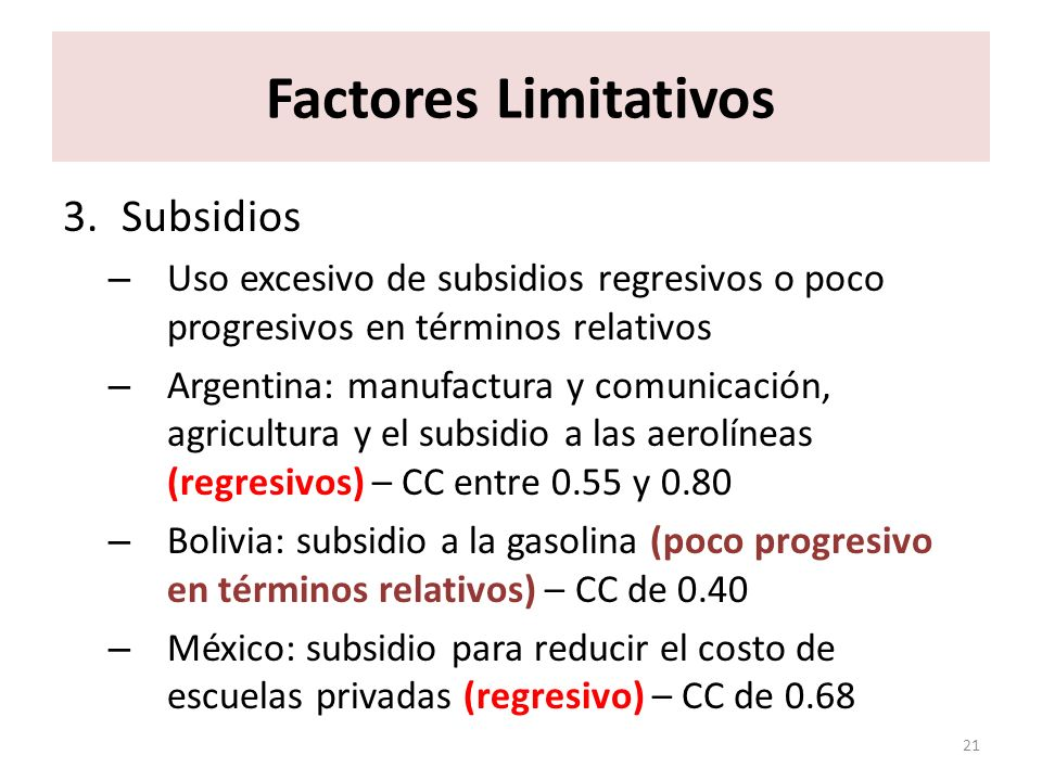 Factores Limitativos Subsidios