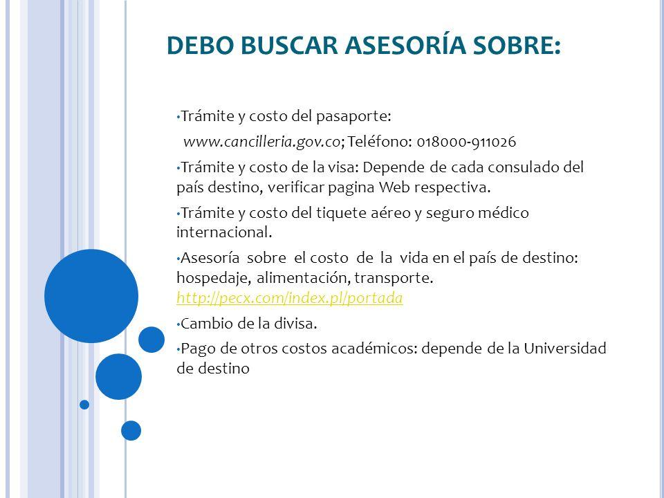 DEBO BUSCAR ASESORÍA SOBRE: