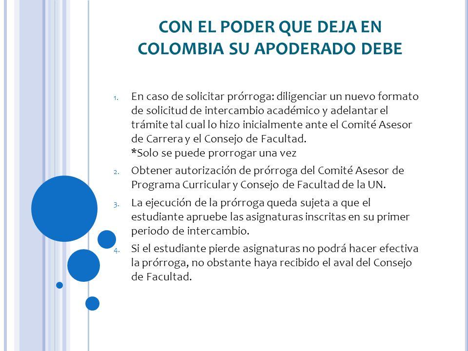CON EL PODER QUE DEJA EN COLOMBIA SU APODERADO DEBE