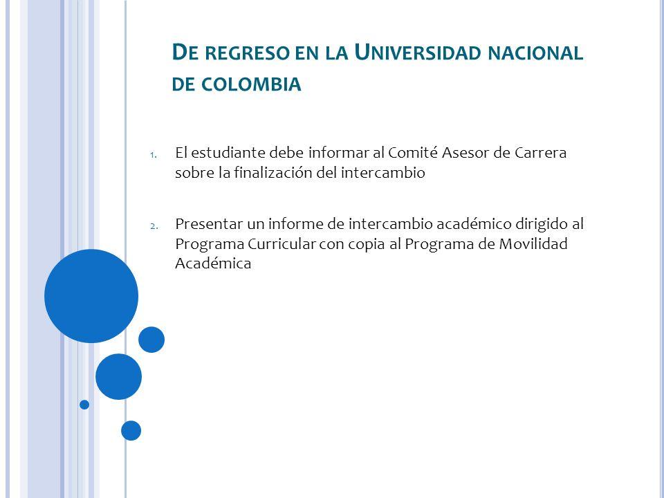 De regreso en la Universidad nacional de colombia
