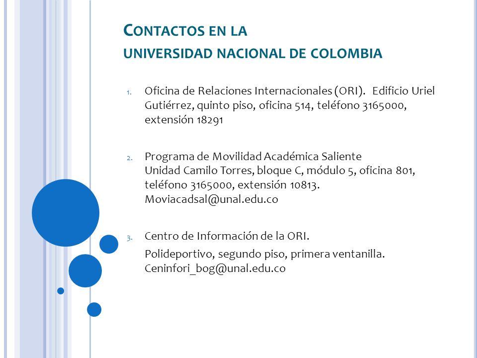 Contactos en la universidad nacional de colombia