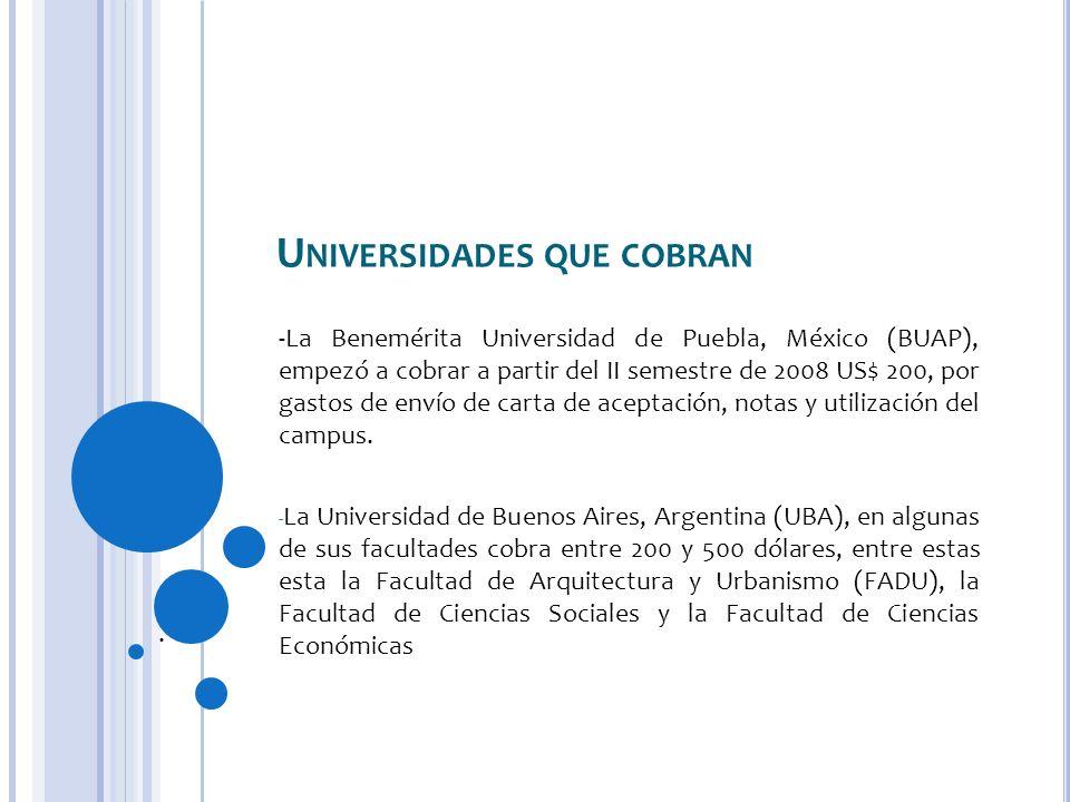 Universidades que cobran