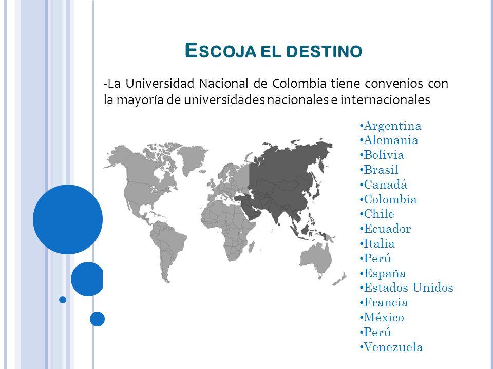 Escoja el destino La Universidad Nacional de Colombia tiene convenios con la mayoría de universidades nacionales e internacionales.