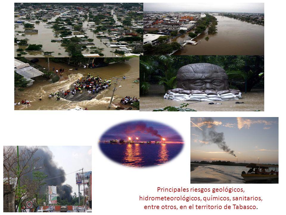 Principales riesgos geológicos, hidrometeorológicos, químicos, sanitarios, entre otros, en el territorio de Tabasco.