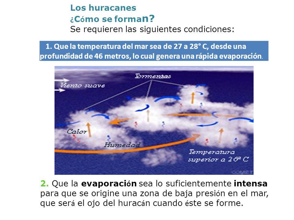 Los huracanes ¿Cómo se forman Se requieren las siguientes condiciones: