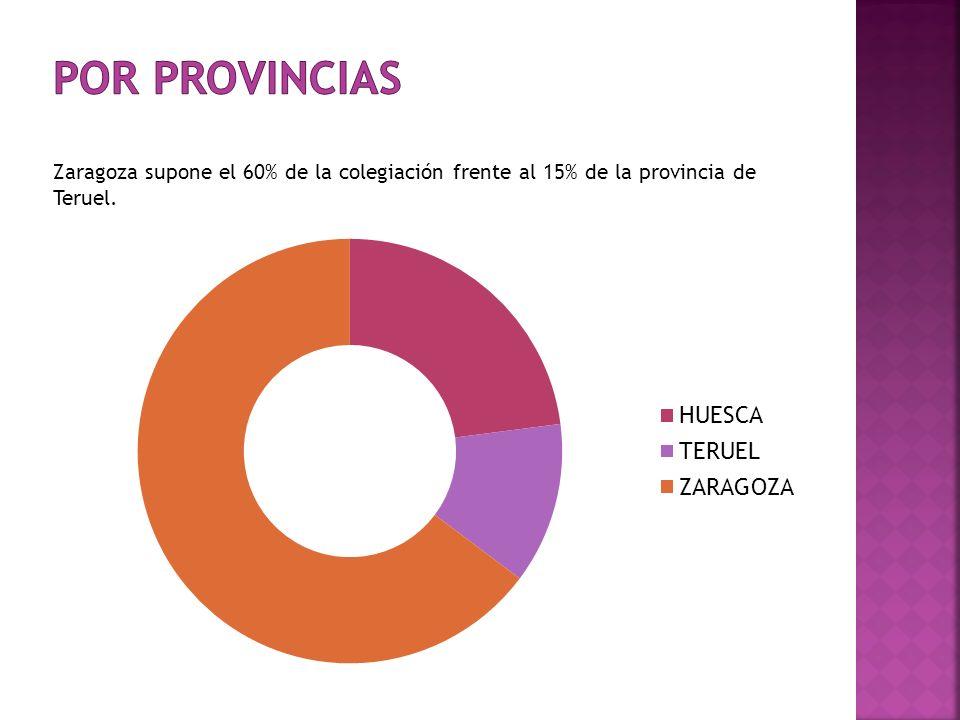 POR PROVINCIAS Zaragoza supone el 60% de la colegiación frente al 15% de la provincia de Teruel.